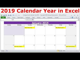 2019 Calendar Year In Excel 2019 Monthly Calendars Year 2019