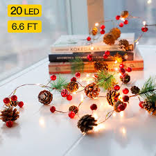 Garland With Lights Christmas Led String Lights Christmas Bell Pine Needle Pine Cone Xmas Wreath Tree Garland 2m 6 8ft 20 Led