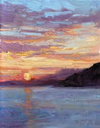 sunset at sea off croatia oil on linen