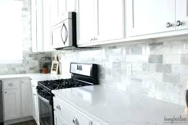 white carrara marble subway tile shower kitchen cabinets with awesome
