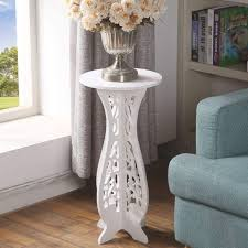 tall hallway side table white bedside lamp telephone display stand round vintage