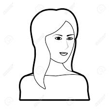 Silhouette Noire Dessin Animé Demi Corps Femme Avec Longue Coiffure Latérale Illustration Vectorielle