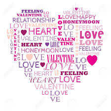 Love In Word Collage Composed In Heart Shape Royalty Free Cliparts