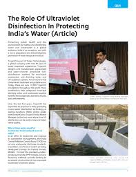 Uv Light Wastewater Treatment Uv Lighting The Way For Wastewater Disinfection In India