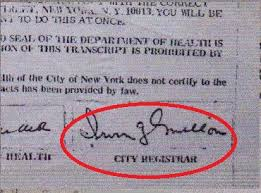Old Birth Certificates Signed By City Registrar Irving Mellon