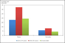 Chart 4 Suicides Per 100 000 By Age Group And Sex Canada 2009