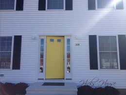 white front door yellow house. Close Up White Front Door Yellow House
