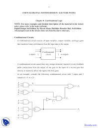 Digital Design Lecture Notes Combinational Logic Design And Analysis Lecture Notes