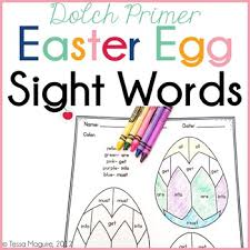 dolch primer dolch primer easter egg sight words color by word by tessa maguire