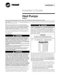 Trane Air Conditioner Heat Pump Outside Unit Manual L0905024