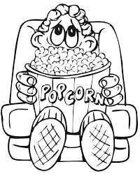 Small Picture Family Coloring Page Boy Eating Popcorn at Movie