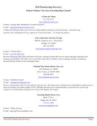 2018 Membership Directory Senior Citizens' Services Coordinating Council