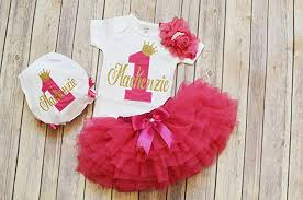 Amazoncom Personalized First Birthday Outfit Girlhot Pink Gold