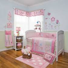 extraordinary pink and green girl room decoration using light pink polka dot rug in baby room including light pink green flower baby bedding set and