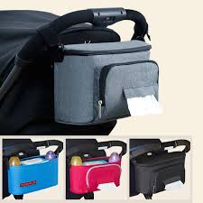 <b>Baby Stroller</b> Organizer <b>Bag</b> Grey Cup Holder <b>Baby</b> Carriage <b>Pram</b> ...