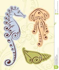 Shell Designs Seahorse Shell Scroll Designs Royalty Free Stock Images Image