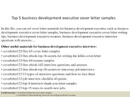Executive Cover Letters Samples Top 5 Business Development Executive Cover Letter Samples