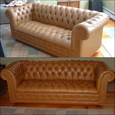 tufted leather sofa red with cognac leather dye