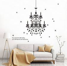 decalmile black chandelier wall decals vinyl wall art home decor removable wall stickers for living room bedroom wantitall