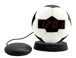 sonic glow soccer ball alarm clock with recordable alarm and sonic bed shaker