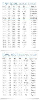 Size 3 Baby Shoes Chart Toms Kids Shoe Size Guide