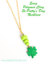 instructions on making your own polymer clay four leaf clover necklace for st patty s day
