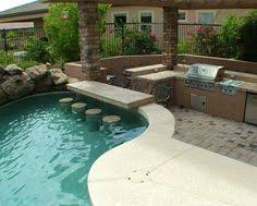 backyard pool bar. Swim Up Bar And Outdoor Kitchen Http://www.azrainfall.com/ Backyard Pool A
