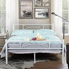 SimLife Steel Platform Box Spring Needed White Metal Bed Frame Full Size 10 Legs Two Headboards Mattress Foundation