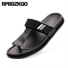 leather slippers shoes fashion designer men black casual flip flop slides slip on waterproof mens sandals 2018 summer outdoor shoes for womens loafers