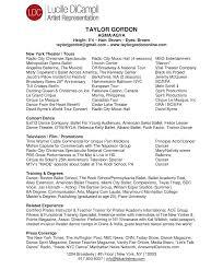 Taylor Gordon Dance Resume