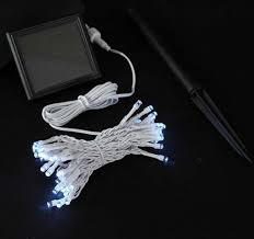 Pure White Solar Christmas lights with 50 Bulbs on White Wire