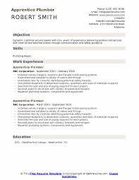 Apprentice Plumber Resume Samples Qwikresume
