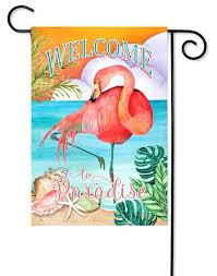 flamingo outdoor decor welcome to paradise garden flag x evergreen 2 sided metal flamingo outdoor decor