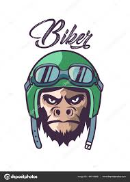 Monkey Design Logo Motorist Monkey Logo Design Vector Illustration Stock