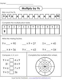 Multiplication Worksheets Basic Facts With Factors Of 9