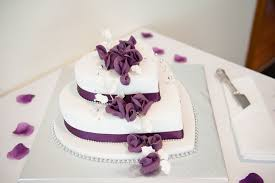 Beautiful 2 Tier Heart Shaped Wedding Cake With Purple Roses Www