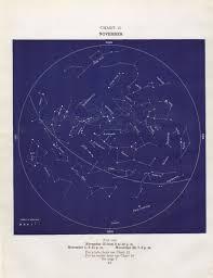 Star Chart For November 1935 November Star Map November Star Chart Antique Star