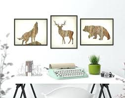 deer wolf bear wall art print set of 3 wood hunting lodge like this item deer antler home decor ideas