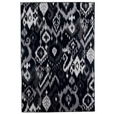 ikat black 3 ft x 5 ft area rug