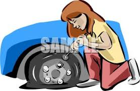 flat tires clipart. Fine Flat Girl Letting The Air Out Of Or Changing A Flat Tire  Royalty Free Clipart  Image Inside Tires T