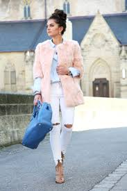 outfit fashionhippieloves spring pastel colors white ripped jeans faux coat