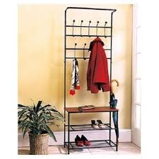 Hall Coat Rack With Storage Entryway Storage Bench Valet With Coat Rack Hanger Shoe Shelves 64