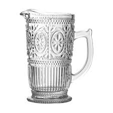 premier 1 25l clear glass pitcher jar with embossed fl design water wine jug