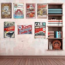 decor wall plaques vintage metal tin signs car route art posters hot rod garage decor wall decor wall