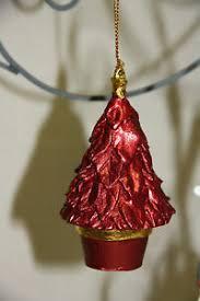 Details Zu Anhänger Baum Tannenbaum Rot Glitzer Polyresin Weihnachten Christbaumschmuck