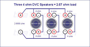 subwoofer wiring diagrams three 4 ohm dual voice coil dvc speakers