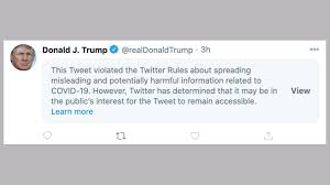 We have made our live blog of the coronavirus pandemic free for all readers. Trump Covid Post Deleted By Facebook And Hidden By Twitter Bbc News