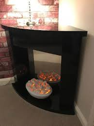 next corner fireplace electric black vvvgc white pebbles perfect working order cost 400 bargain