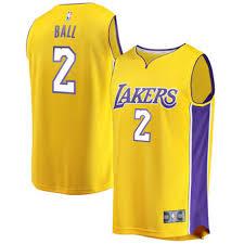 ball lakers jersey. men\u0027s los angeles lakers lonzo ball fanatics branded yellow fast break replica jersey - icon edition t