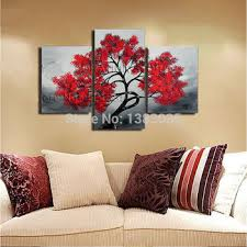 get quotations hand painted red tree canvas oil painting modern abstract 3 piece wall art home decor picture on 3 piece wall art set with cheap 3 piece painting set find 3 piece painting set deals on line